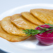 Stock Photo: Fried potato pancakes with horseradish