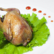 Stock Photo: Roasted chicken seasoned with herbs