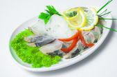 Herring with vegetables — Stock Photo