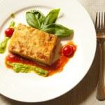 plato de lasagna italiana — Foto de Stock