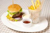 Burger, fries and ketchup — Stock Photo