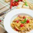 Pasta with chicken breast — Stock Photo