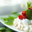 Stock Photo: Strawberries with whipped cream
