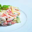 Fresh salad with vegetables and cheese — Stock Photo