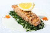 Fried fish with lemon — Stock Photo