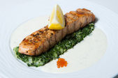 Fish steak and lemon — Stock Photo