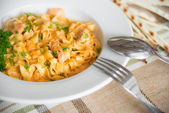 Pasta with meat and sauce — Stock Photo