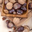 Walnuts, chestnuts, hazelnuts and almonds — Stock Photo #33256373