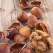 Walnuts, chestnuts, hazelnuts and almonds — Stock Photo #33549045