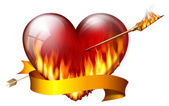 Fiery heart — Stock Photo