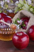 Apples and honey — Stock Photo