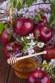 Apples and honey — Stock Photo