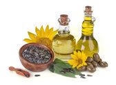 Sunflower and olive oil — Stock Photo
