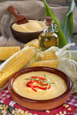 Corn, grits and corn oil — Stock Photo