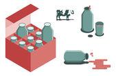 Bottle of milk vector image set — Stock Vector