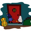 Children in halloween costume waiting in front the door — Stockvectorbeeld