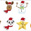 Set of x-mas characters — Stock Vector