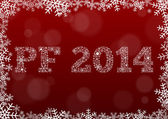 Tarjeta roja feliz nuevo año 2014 — Vector de stock