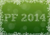 Tarjeta verde feliz nuevo año 2014 — Vector de stock