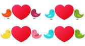 Set of love birds — Stock Vector