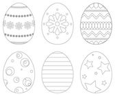 Set of 6 Easter eggs — Stock Vector