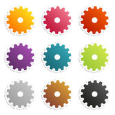 Colorful gear labels — Stock vektor