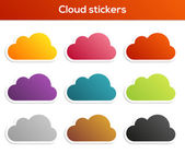 Set of cloud stickers — Vector de stock