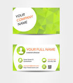 Green mosaic double sided business card — Stock Vector