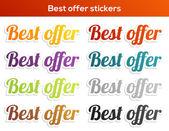 Best offer stickers set — Stockvektor