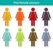 Apartamento femininos adesivos — Vetor de Stock