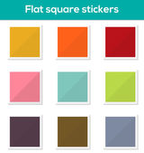 Flat square stickers — Stock Vector