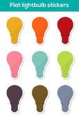 Flat lightbulb stickers — Stock Vector