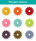 Flat gear stickers — Stock Vector