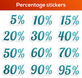 Percentage sticker collection — Stock Vector