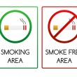 Signs for smoking and smoke free area — Stock Vector