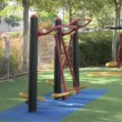 Stock Video: Air walker improving body coordination