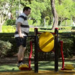 Stock Video: 50 y.o. menhancing body coordination