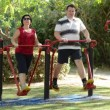 Happy couple exercising on air walker — Stock Video