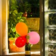 Bottle Moet and Chandon with balloons — Stock Photo #30750355