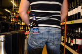 Samuel Adams Boston Lager in hip pocket — Stock Photo