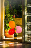 Bottle Moet and Chandon with three balloons — Stock Photo