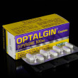 Stock Photo: Optalgin caplets box with blister