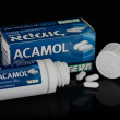 Acamol box with 50 caplets in a container — Stock Photo