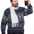 Bearded min sweater is keeping ale pint — Stock Photo #34966381