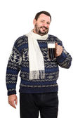 The fat man in white scarf with mug of ale — Stock Photo