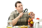 Phytocontrol engineer stares at the rotten apple — Stock Photo