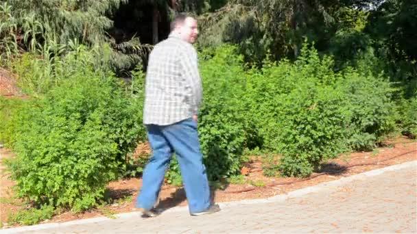Homme pipi dans les buissons — Vidéo