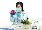 Expert viewing closely a red cabbage in laboratory — Stock Photo