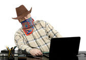 Thief stealing data from another laptop using usb flash drive — Stock Photo