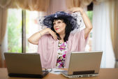 A woman loves being online matchmaker — Stock Photo